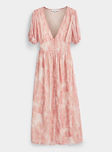 Buttoned pink wave dress