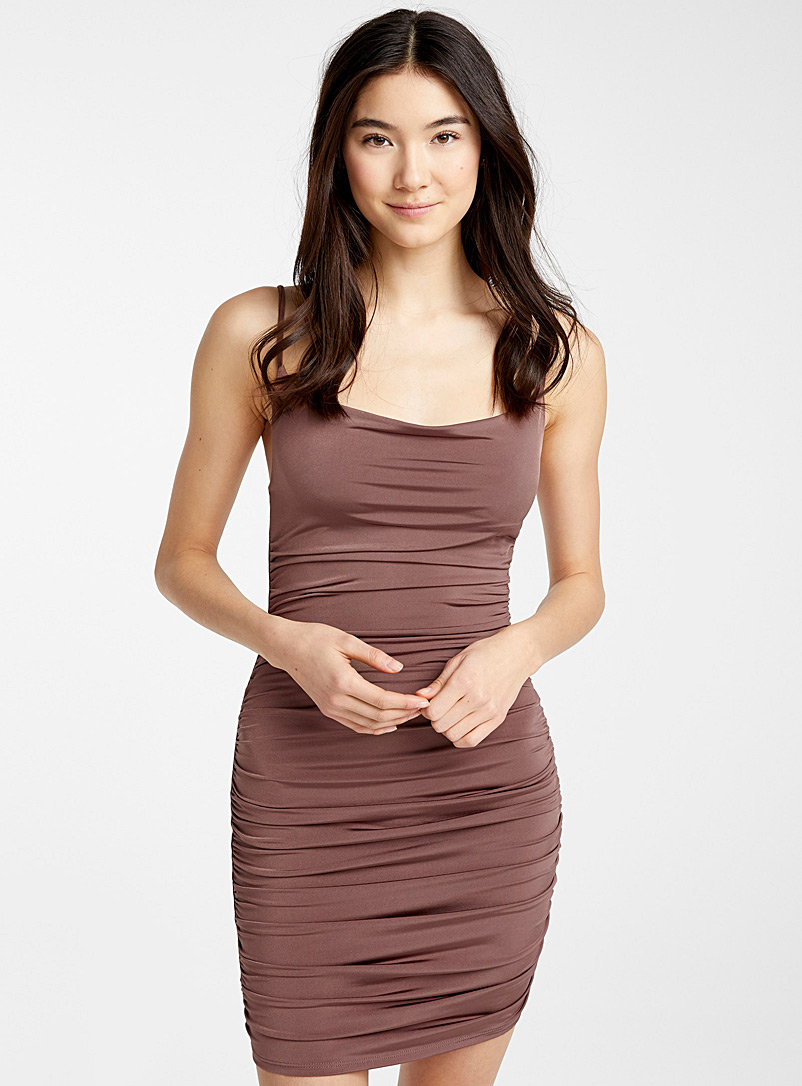 Twik Black Ruched satiny dress for women