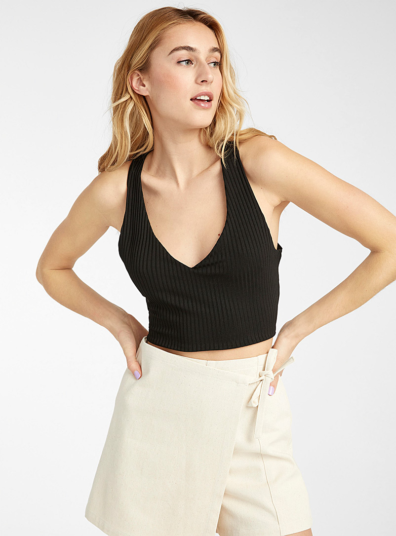 Twik Black Ribbed crossed strap cami for women