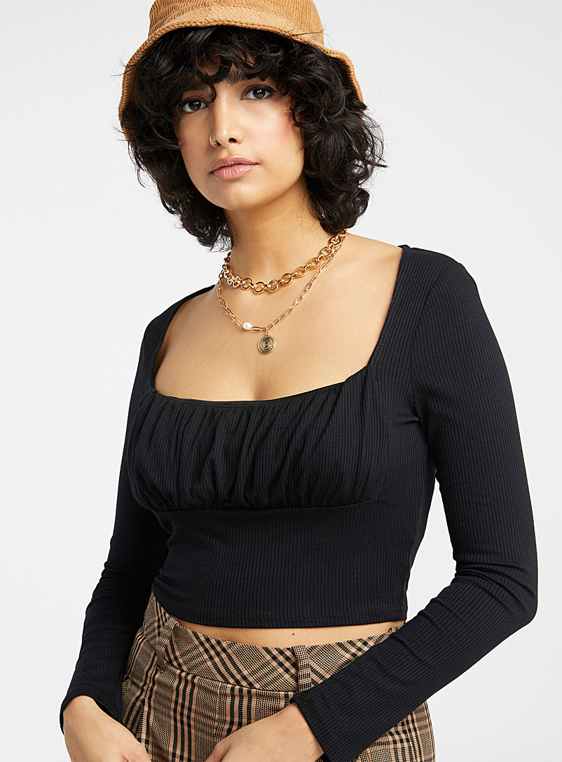 Twik Black Cropped square-neck ribbed T-shirt for women