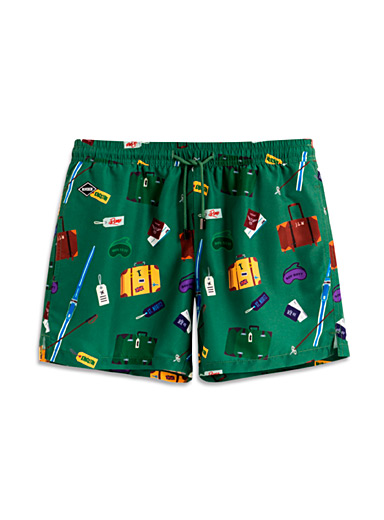 Nikben Patterned Green Globetrotter eco-friendly swim short for men