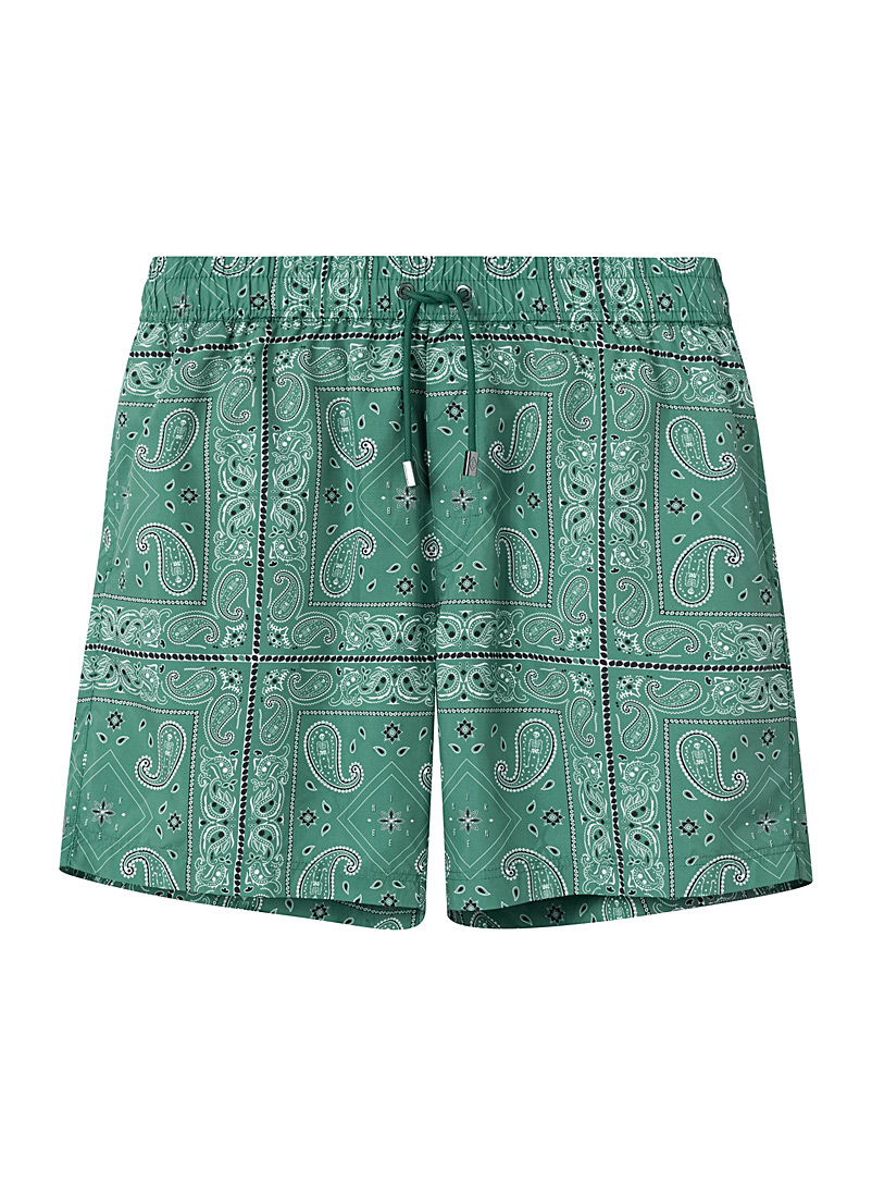 Nikben Patterned Green Eco-friendly bandana swim short for men