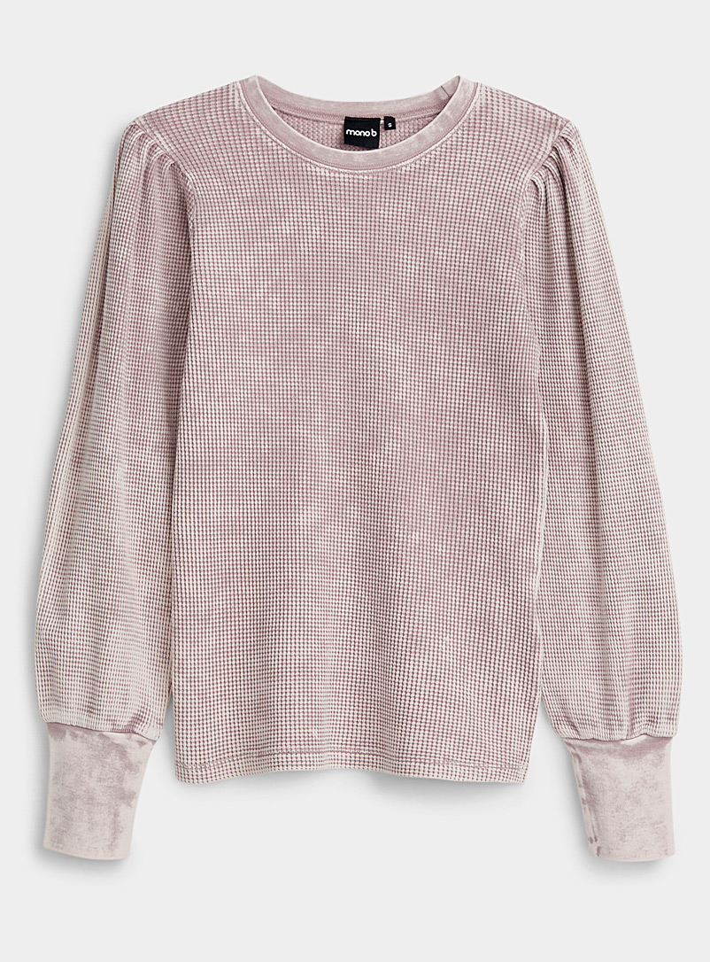 Mono B Medium Crimson Faded tie-dye waffle sweatshirt for women
