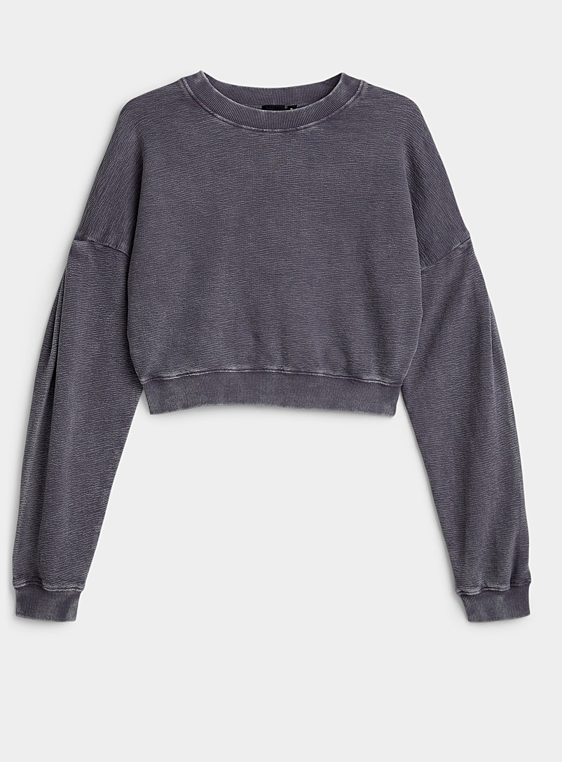 Mono B Medium Crimson Faded puff-sleeve cropped sweatshirt for women