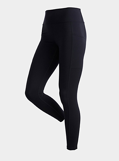 Mono B Black Pocketed high-rise 7/8 legging for women
