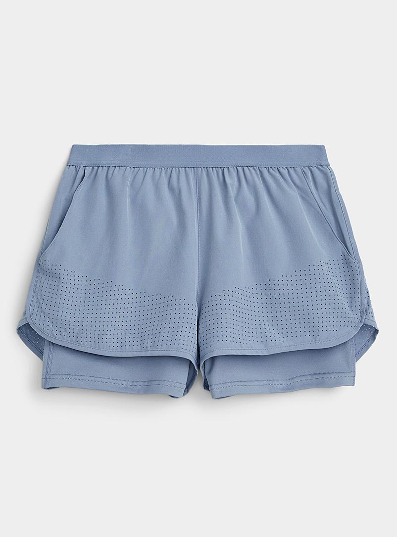 Mono B Baby Blue Perforated hem 2-in-1 short for women