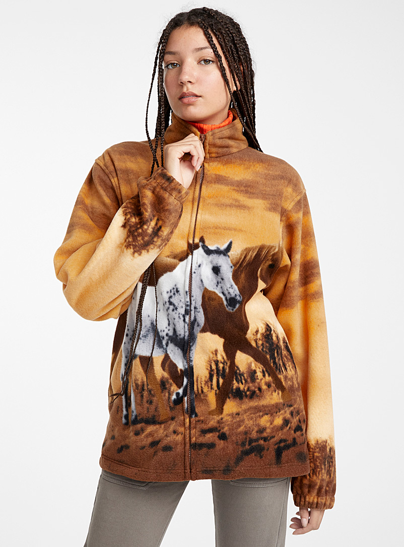 Wild Kind Orange Wild horse fleece jacket for women