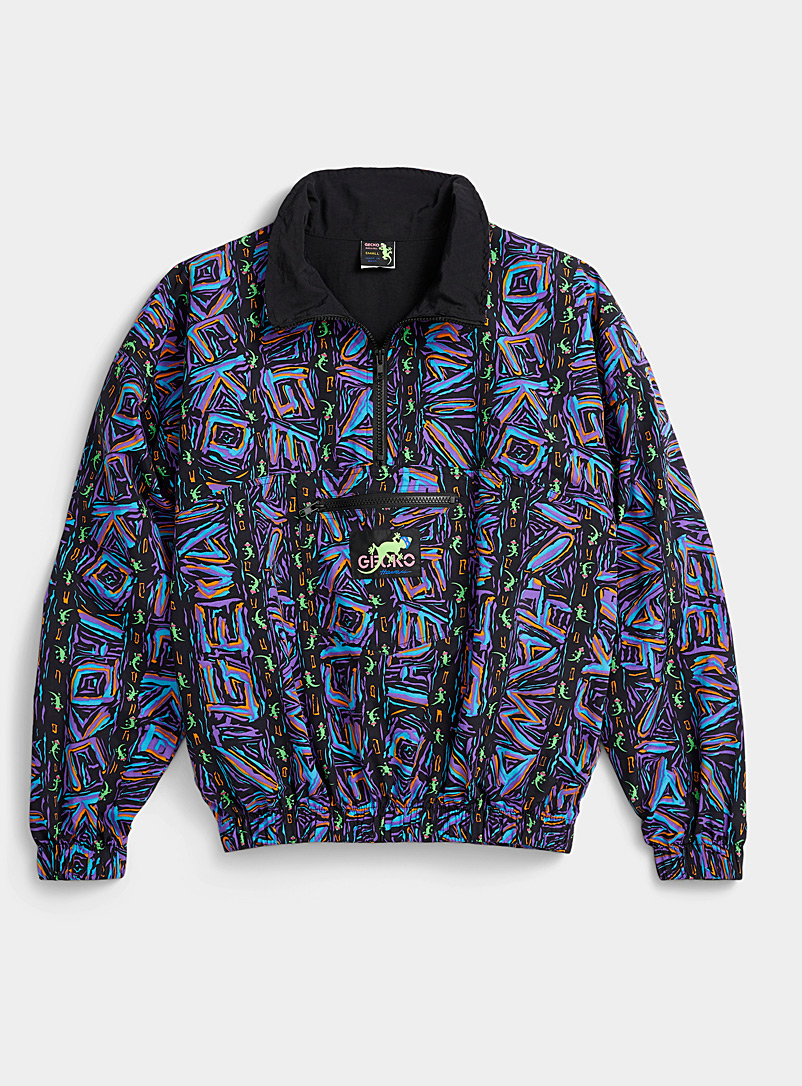 Gecko Hawaii Assorted Neon graffiti half-zip for women