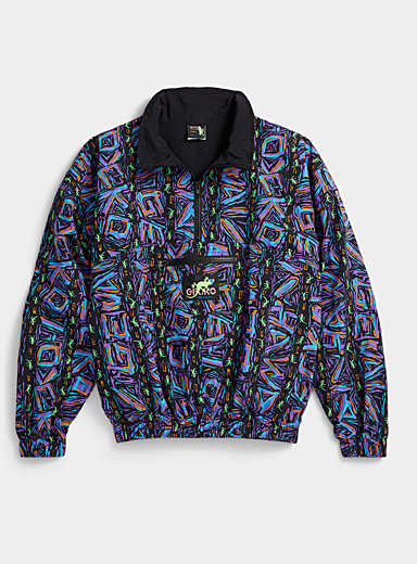 Neon graffiti half-zip