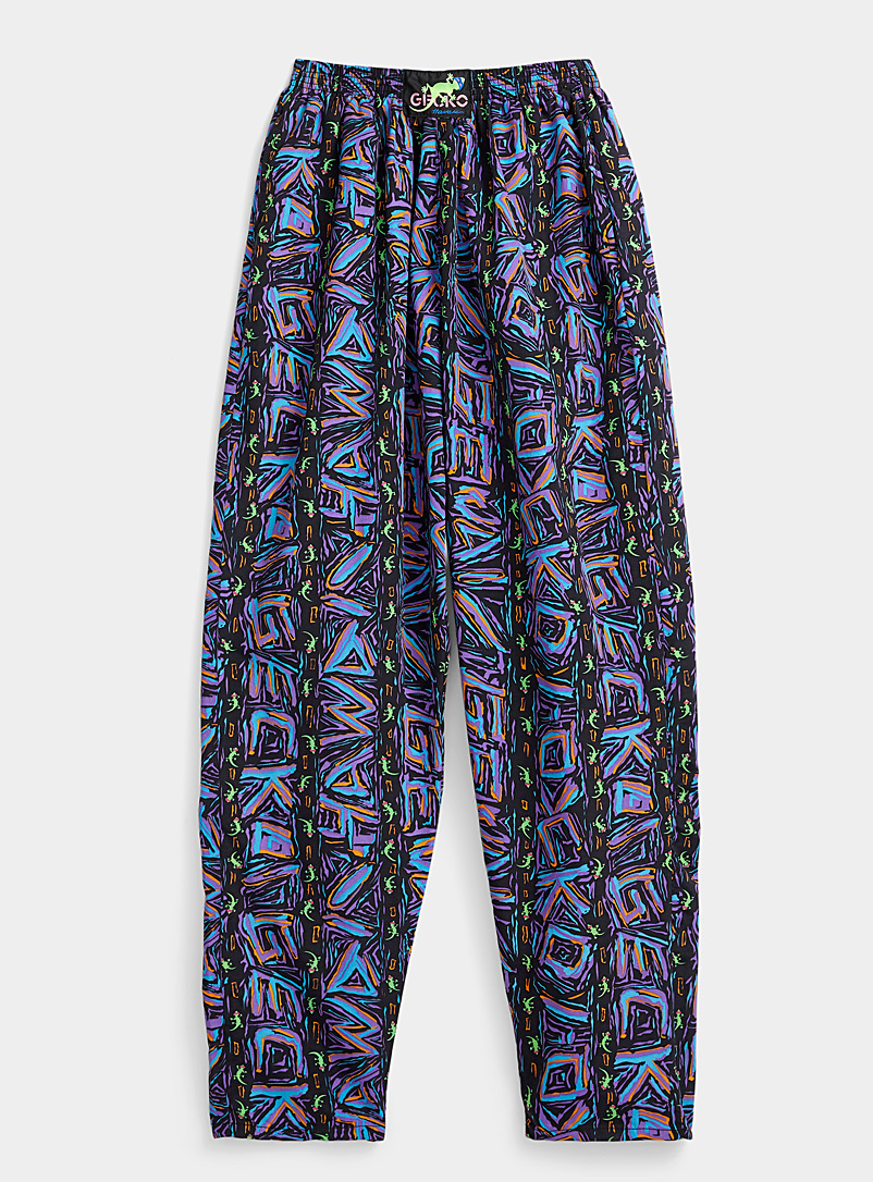 Gecko Hawaii Assorted Neon graffiti loose joggers for women
