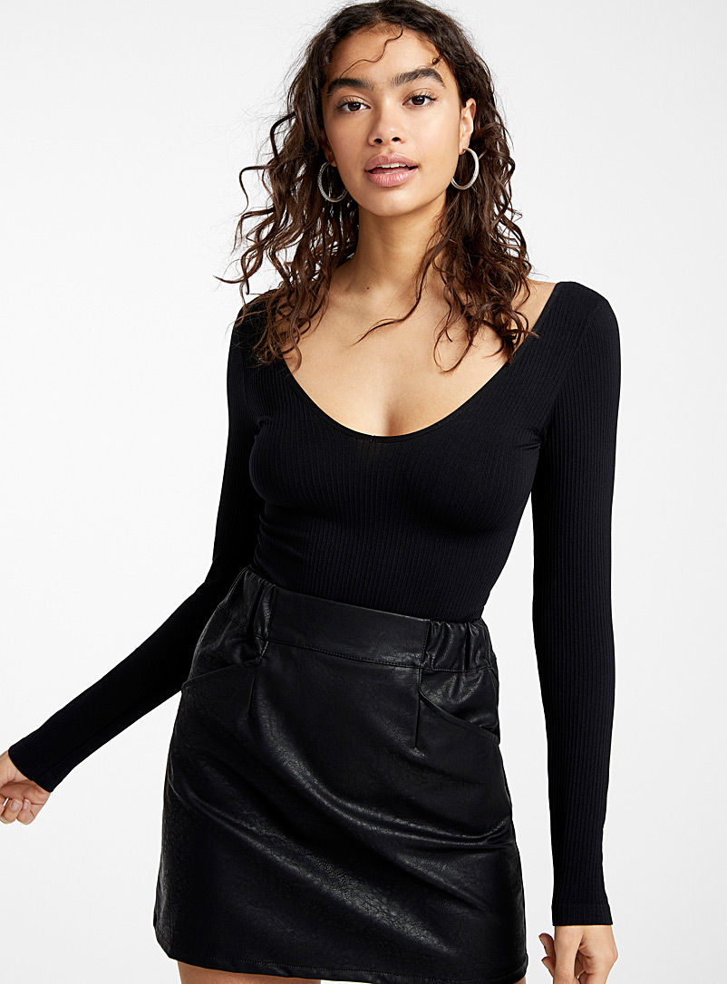 Twik Black Stretchy ribbed bodysuit for women