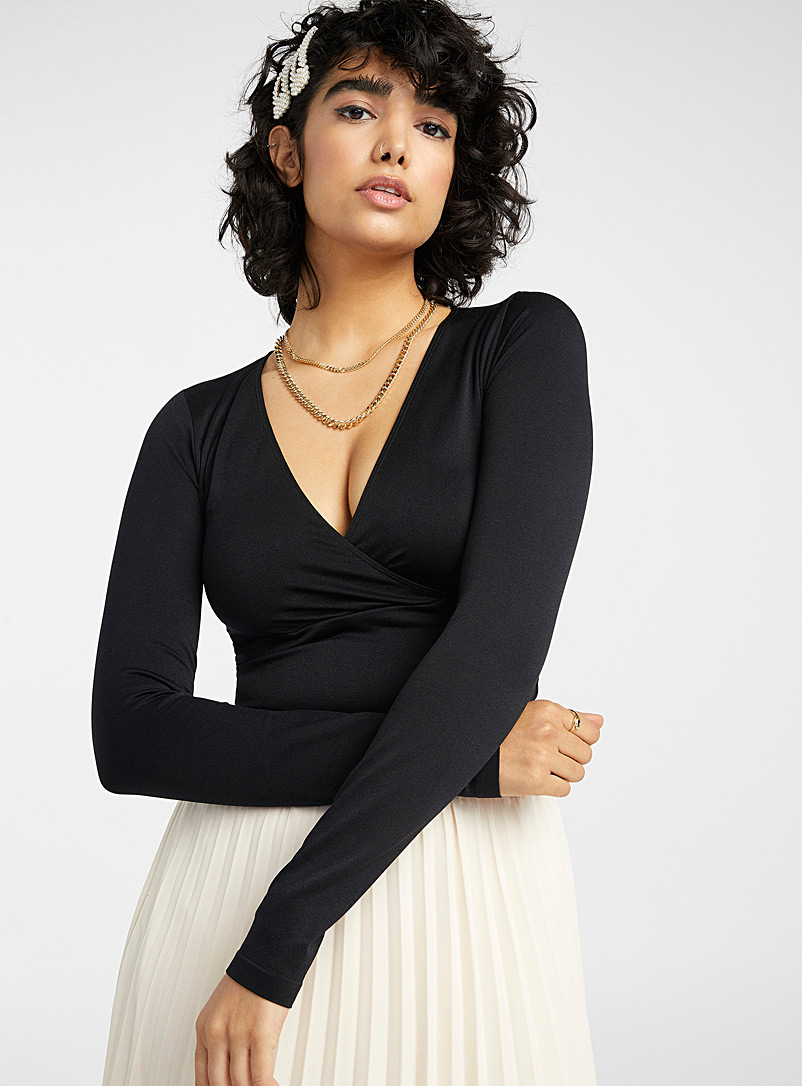 Twik Black Microfibre crossover cropped tee for women