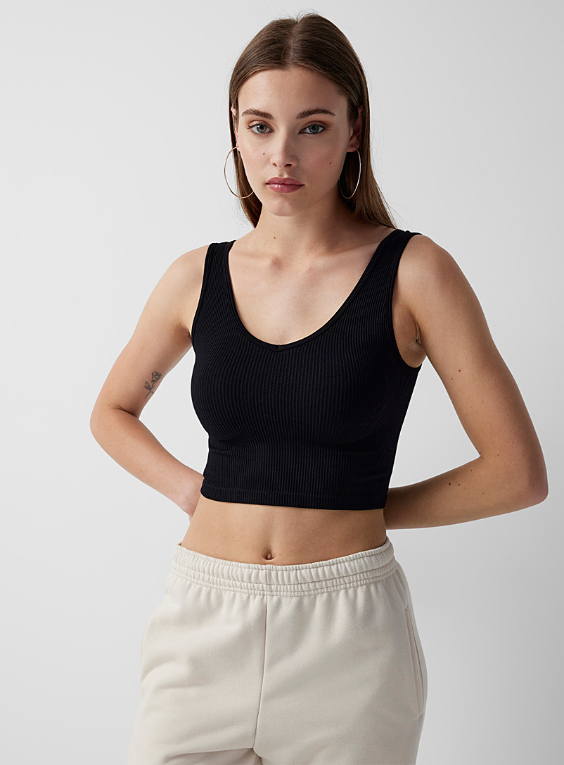 Twik Black Ultra-cropped ribbed cami for women