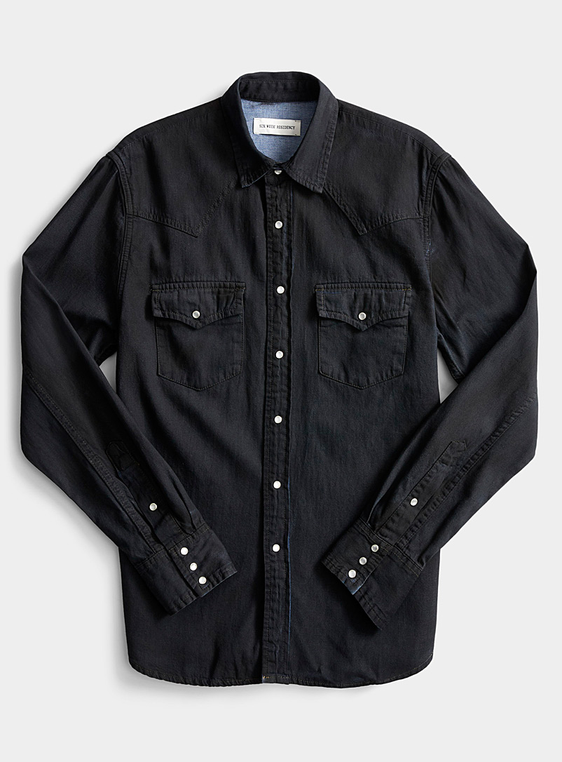 Dark denim Western shirt