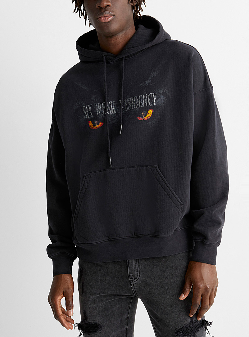 Six Week Residency Black Night glow hoodie for men