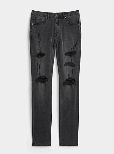 Patched charcoal jean  Super skinny fit