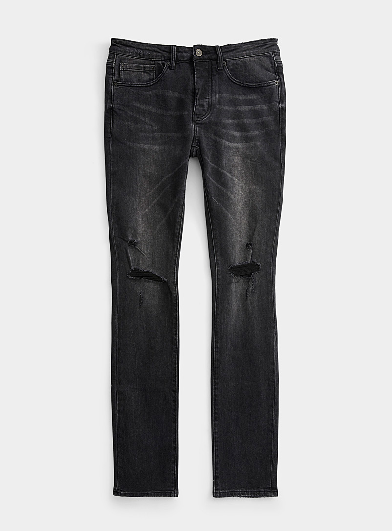 Six Week Residency Black Distressed faded black jean  Skinny fit for men