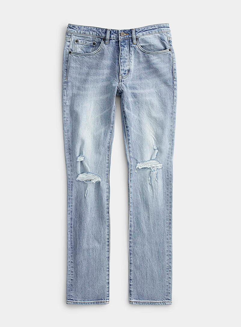 Six Week Residency Blue Ripped-knee bleached jean  Skinny fit for men