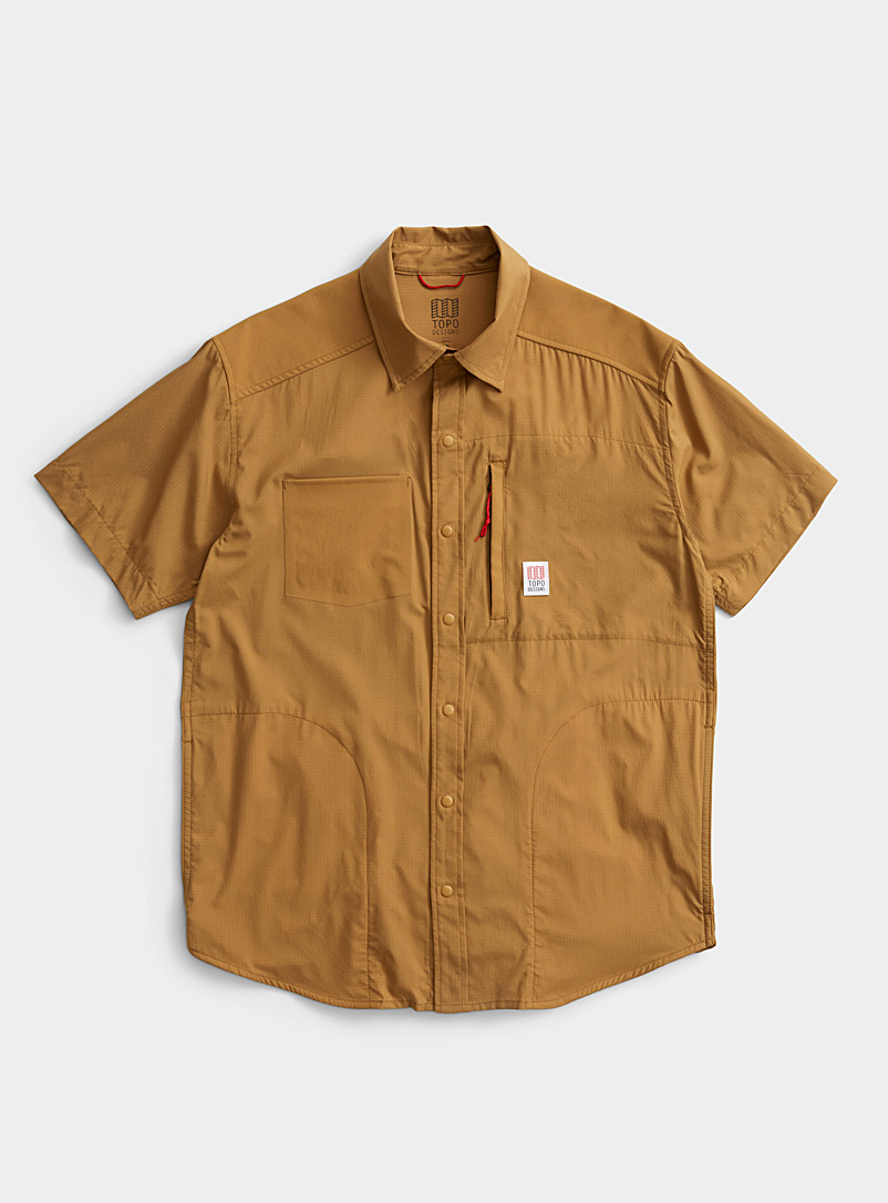 Topo Designs Khaki Lightweight pure nylon shirt for women