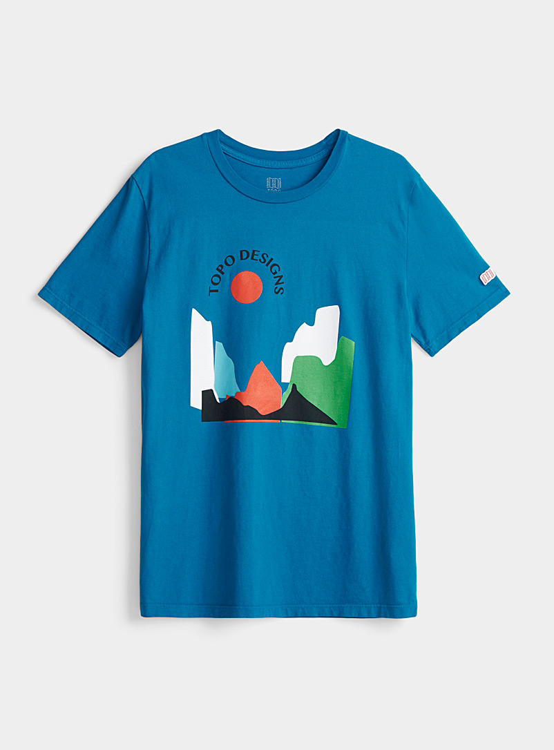 Topo Designs Blue Geo landscape tee for women