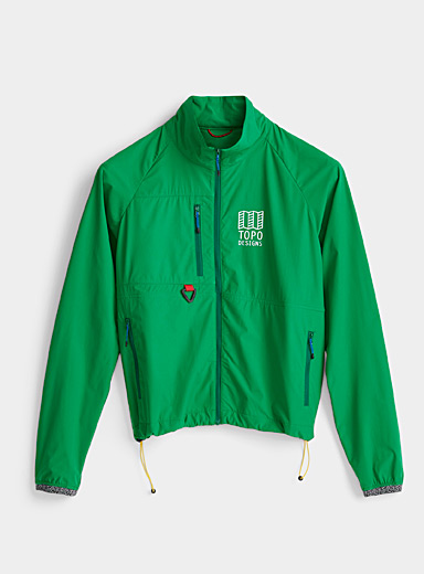 Topo Designs Green Packable green logo windbreaker for women