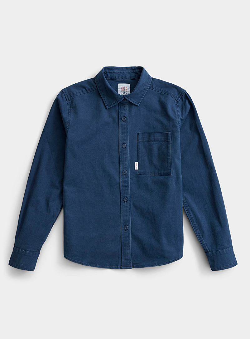 Topo Designs Marine Blue Organic cotton utility shirt for women