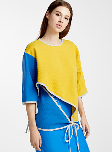 Colour block cape T-shirt