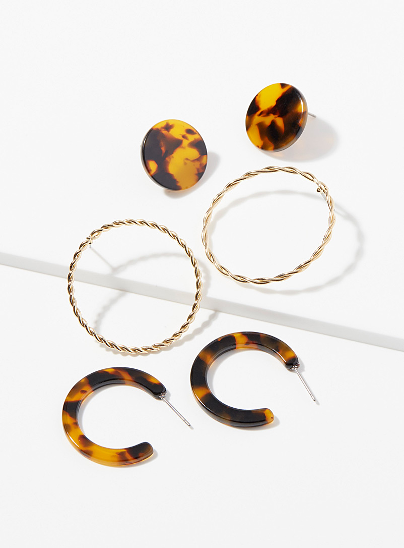 Tortoiseshell and twists earrings  Set of 3 pairs
