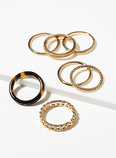 Simons Assorted Shiny rings  Set of 7 for women