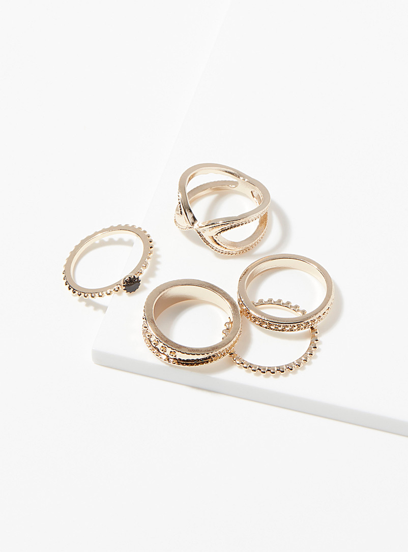 Simons Gold Monochrome metal rings  Set of 5 for women