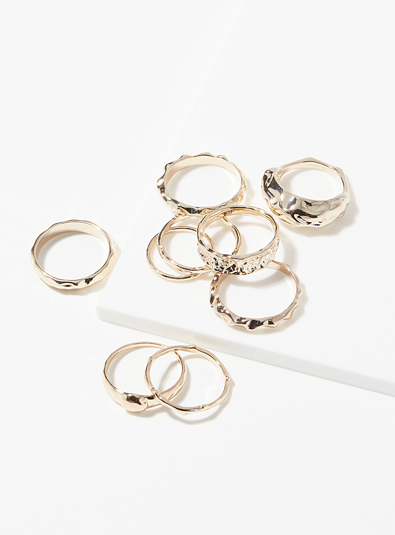 Hammered rings  Set of 9