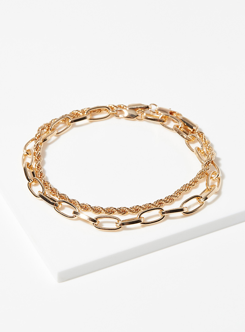 Simons Gold Eclectic chain bracelets  Set of 2 for women