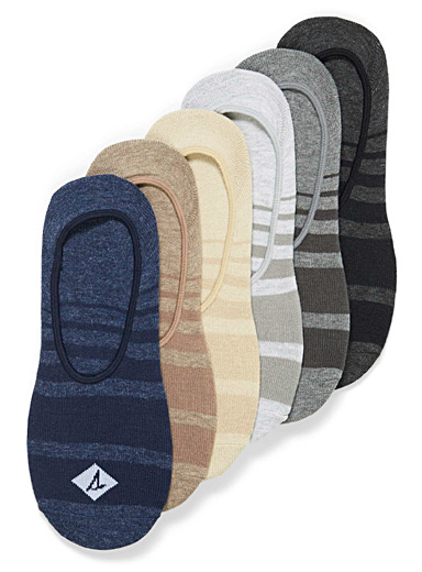 Ombré stripe ped socks  6-pack