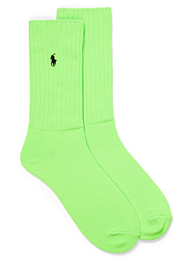 Polo Ralph Lauren Green Fluorescent ribbed socks for men