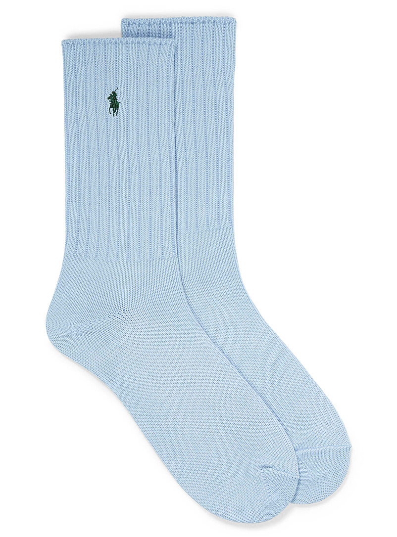 Polo Ralph Lauren Baby Blue Logo recycled polyester ribbed socks for men