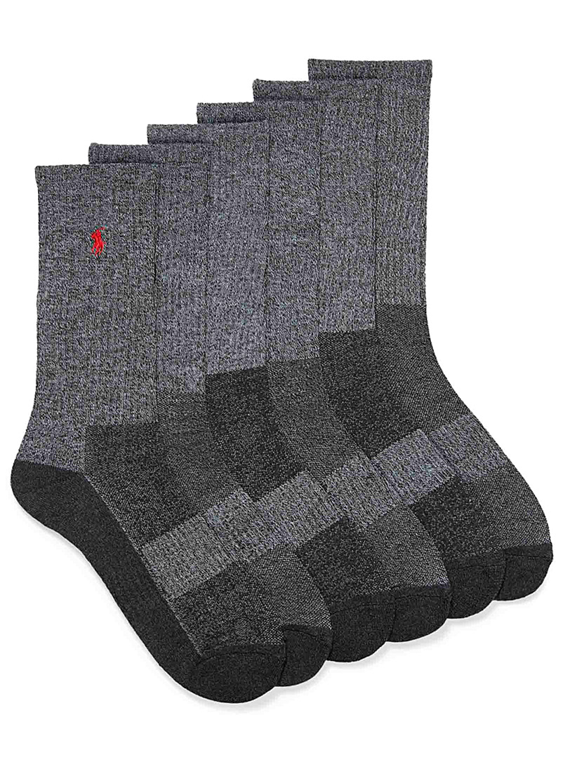 Polo Ralph Lauren Patterned Grey Grey combo ribbed socks  6-pack for men