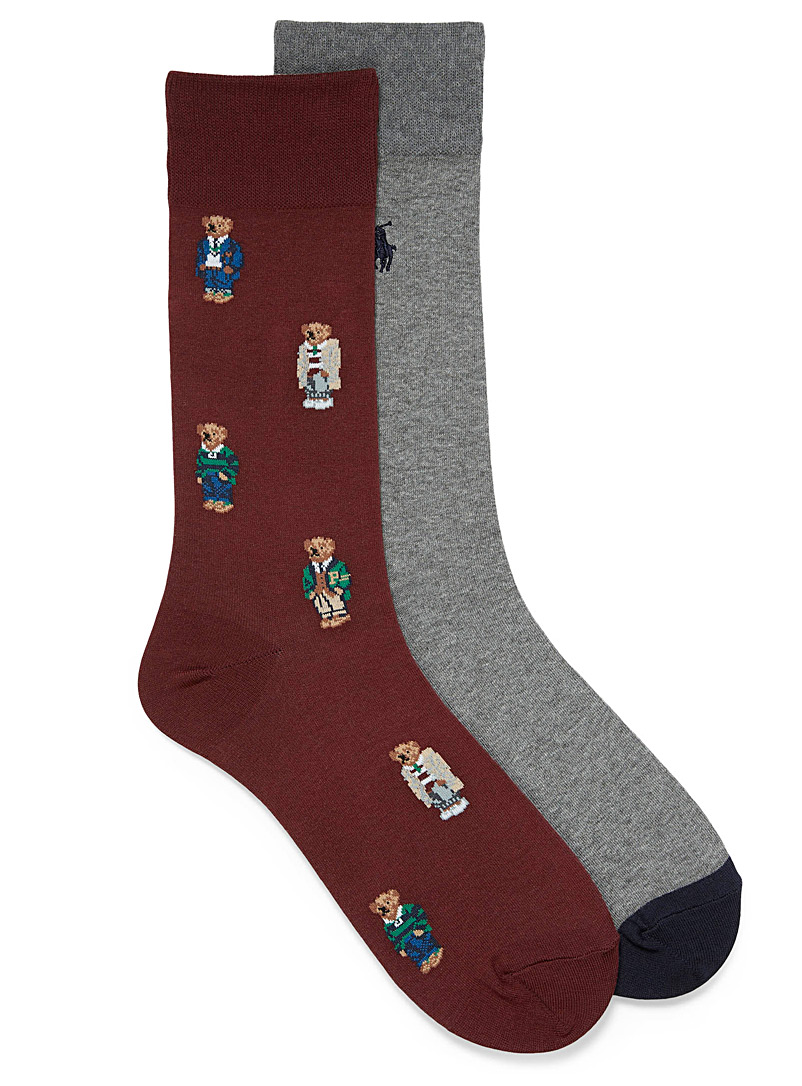 Solid and preppy teddy bear sock 2-pack