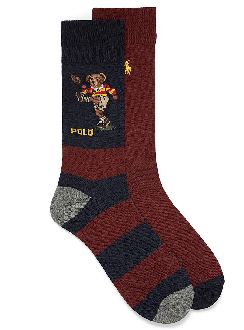 Solid and rugby teddy sock 2-pack