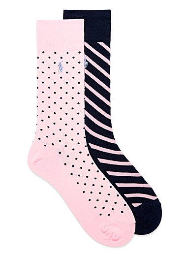 Light pink pattern socks 2-pack