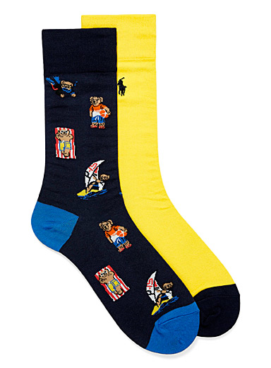 Sunny yellow and vacation teddy bear socks 2-pack