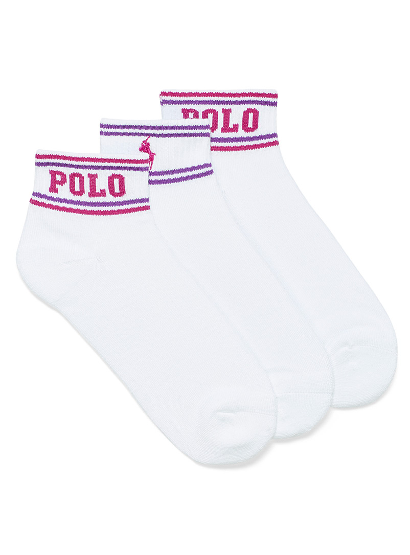 Polo Ralph Lauren White Pink and purple accent ankle socks Set of 3 for women