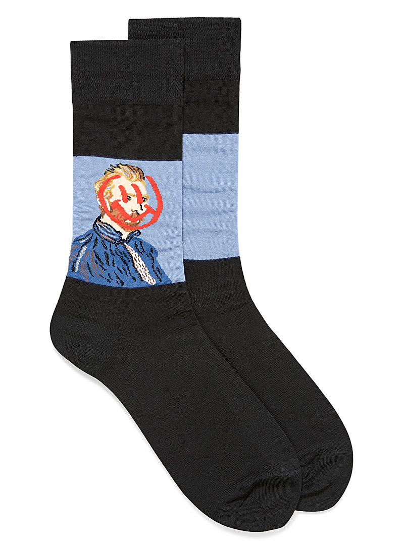 Hot Sox Patterned Black Van Gogh smile socks for men