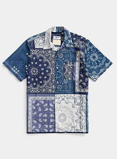 Bluesville Blue Patchwork bandana shirt   for men