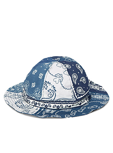Bluesville Blue Patchwork bandana bucket hat for men