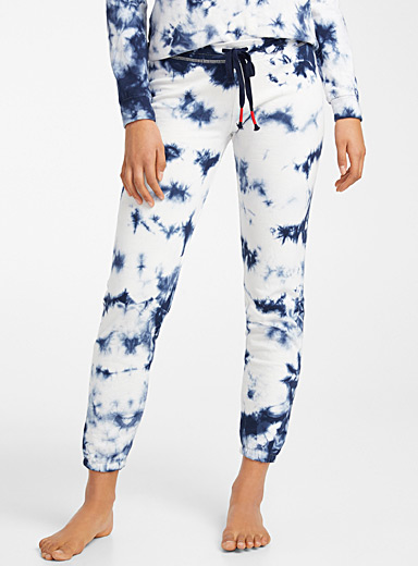P.J. Salvage Patterned Blue Terry-lined tie-dye joggers for women