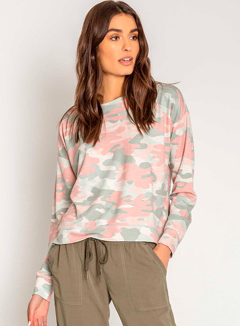 P.J. Salvage Dusky Pink Natural camo sweater for women