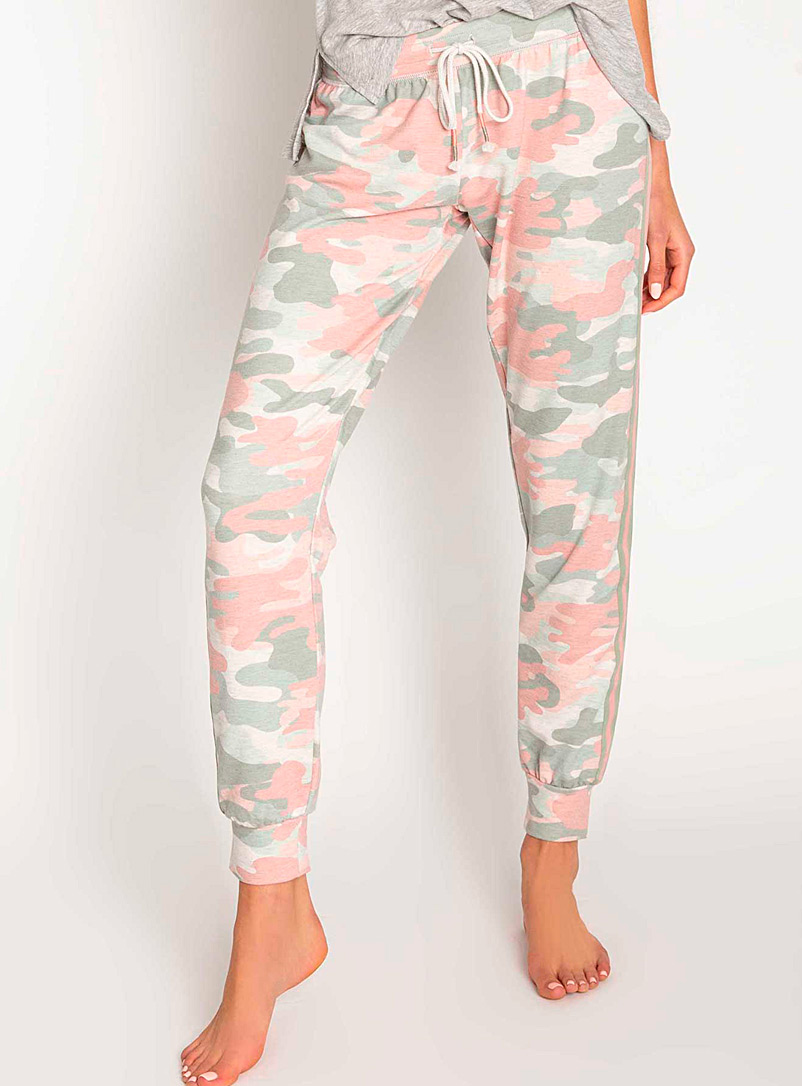 P.J. Salvage Dusky Pink Natural camo joggers for women