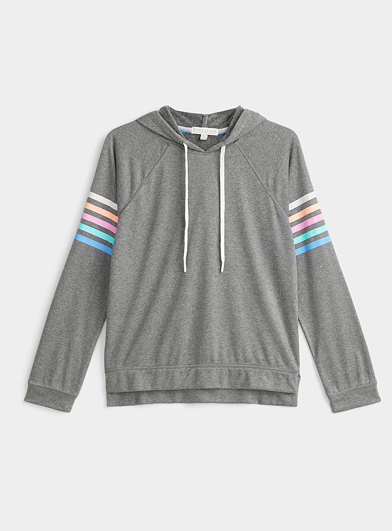 P.J. Salvage Dark Grey Rainbow accent hooded sweater for women