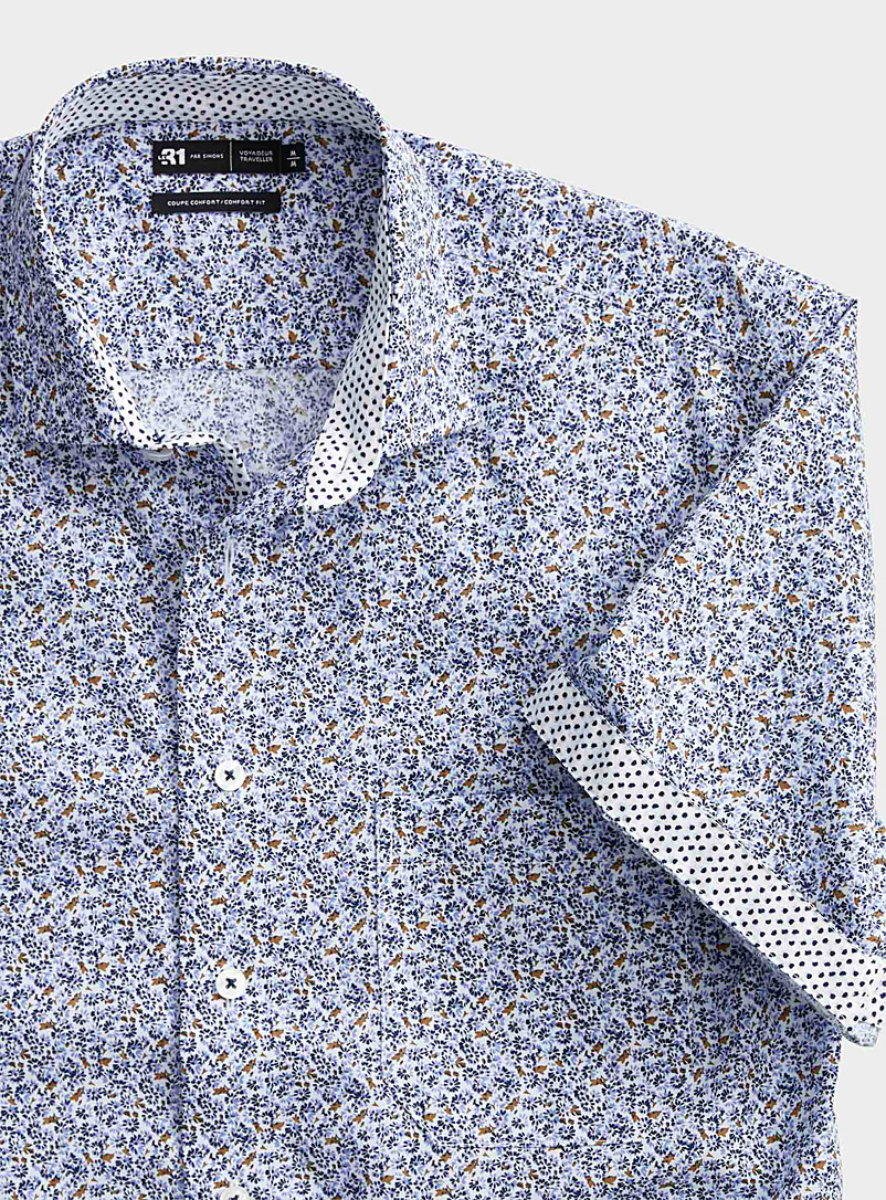 Le 31 Patterned White Floral mosaic shirt  Comfort fit for men