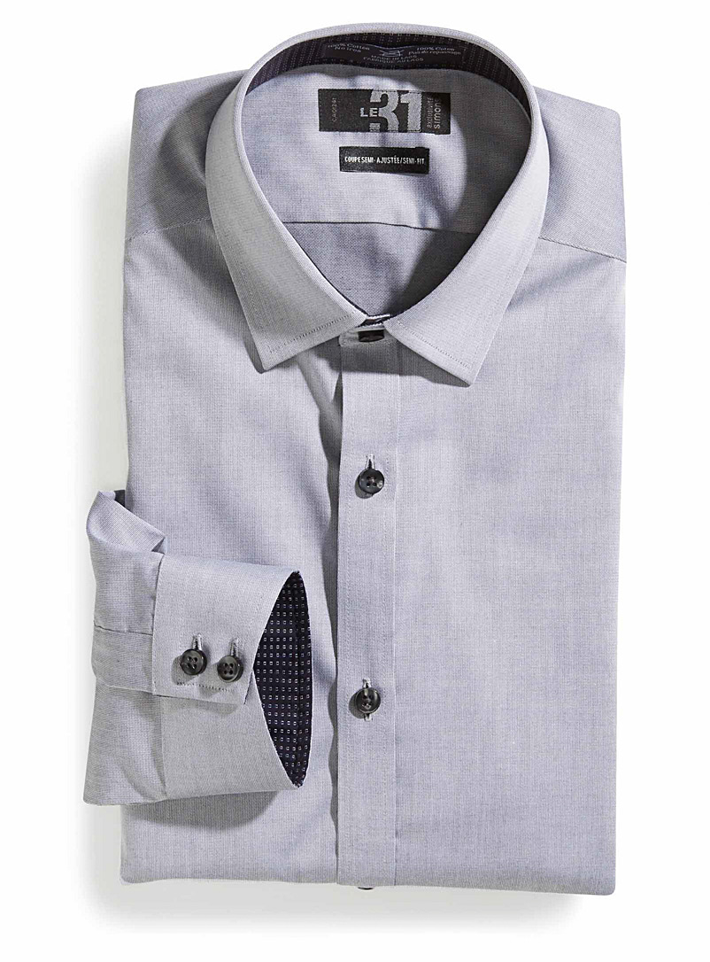 Le 31 Dark Grey Non-iron dress shirt  Semi-tailored fit for men